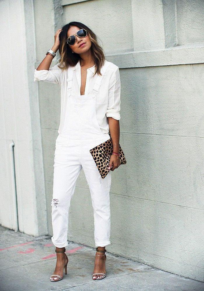 Salopette blanche en jean, combinaison femme chic, style casual, mode femme 2019
