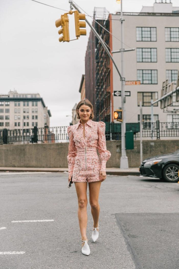 Combinaison rose shorts et manche longue, haut femme tendance, robe boheme longue, mode femme 2019