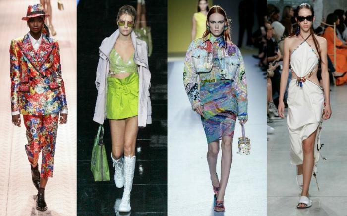 Les tendances de l'été 2019, combinaison pantalon femme chic, mode ete 2019, robe blanche, jupe et top néon vert, idées de tenues