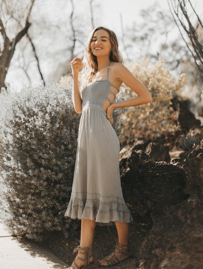 Robe originale style bohème, combinaison femme soirée, combinaison pantalon femme chic, grise robe mi longue