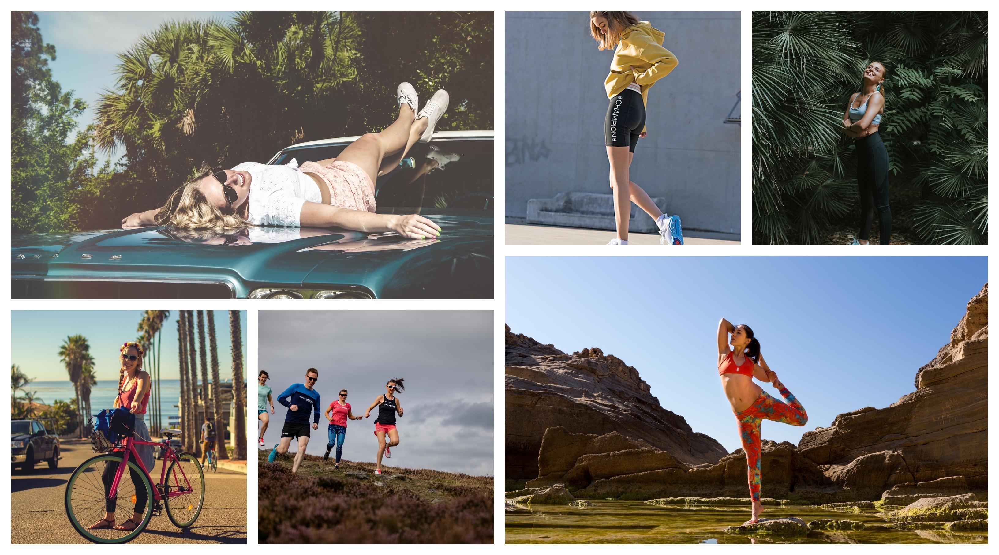 Short de sport mode ete 2020, idée tenue d'été femme moderne, femme à bicyclette, leggings et shorts, vetements de sport