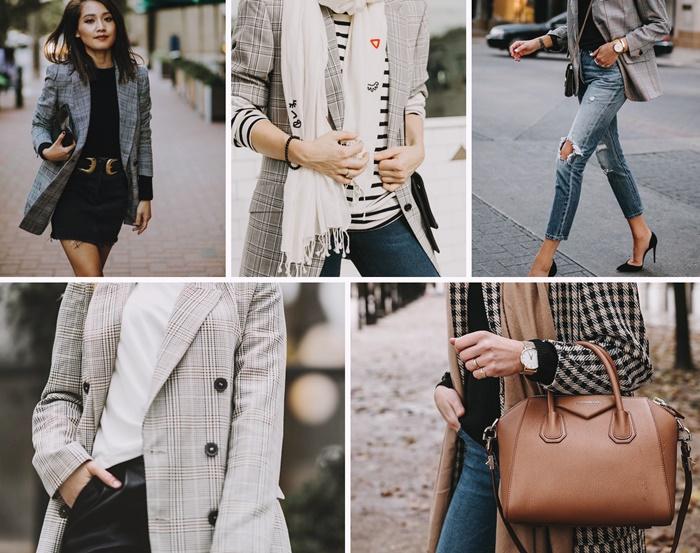 avec quoi porter un blazer prince de galles femme jupe courte tenue casual smart jeans et blazer outfit femme accessoires mode tendances