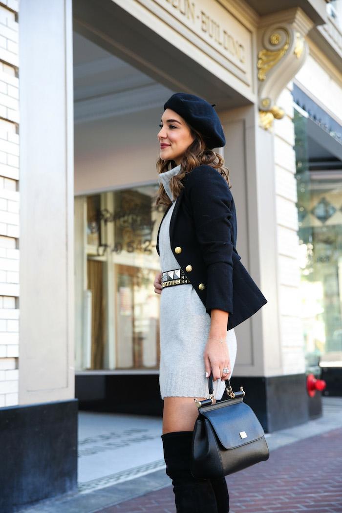 chic ensemble tailleur femme chic veste noire robe courte et cuissards tenue classe femme look cuissarde ou bottines confortables idées pour les femmes stylées