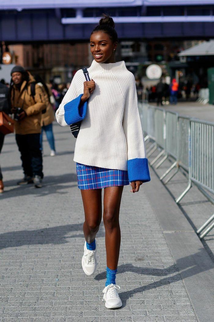 cool idée tenue lycée pull ado long et jupe mini carré mode ado fille inspiration tenue pour ado fille belle robe ado