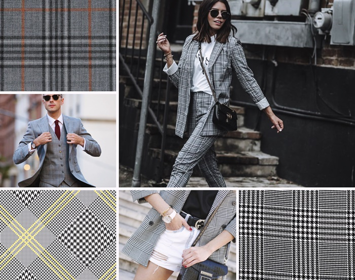 costume prince de galles motif carreaux tissu etoffe princes de galles pied de poule blazer femme gris costume homme elegant accessoires lunettes de soleil