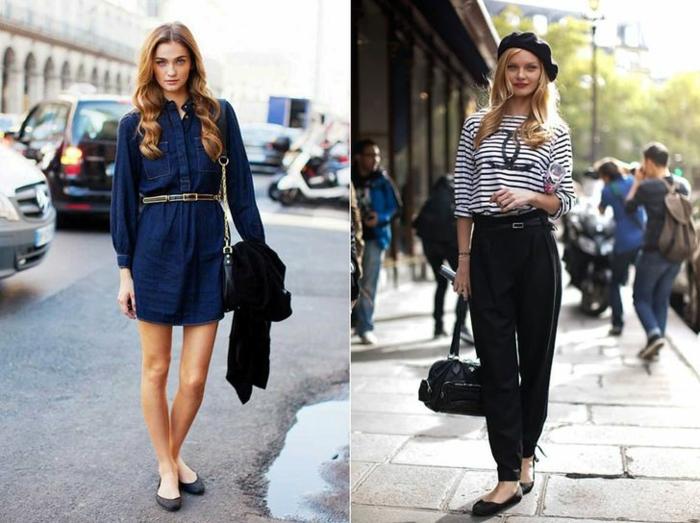 robe chic femme style parisienne tenue décontractée chic deux idées au meme style pantalon noir et top rayé chanel