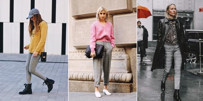 tenue femme chic avec pantalon carreaux gris idee tenue automne pull over rose pastel decollete en v pantalon gris style rock chic veste cuir noir