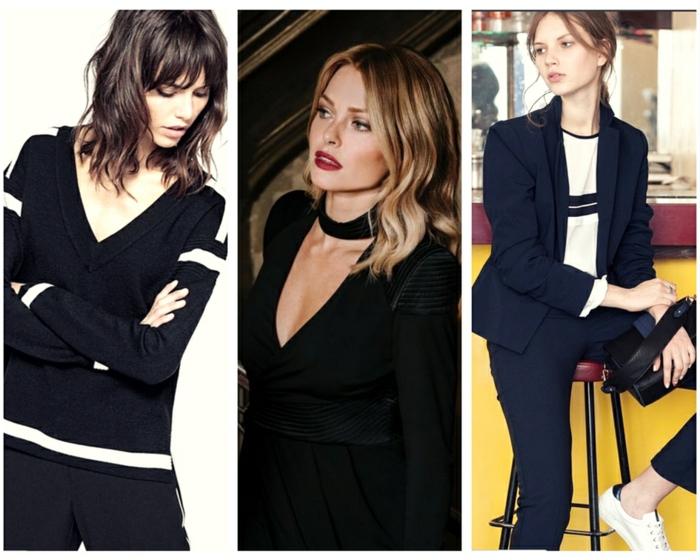 trois options pour une tenue chic casual femme de la mode parisienne style sans efforts noir et blanc