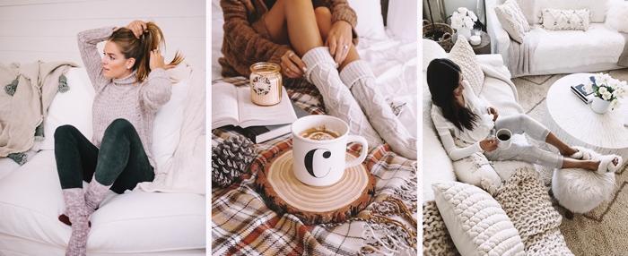 chaussettes chaudes hiver femme vetements tenue cocooning pantoufles pure laine crochets plaid coussin