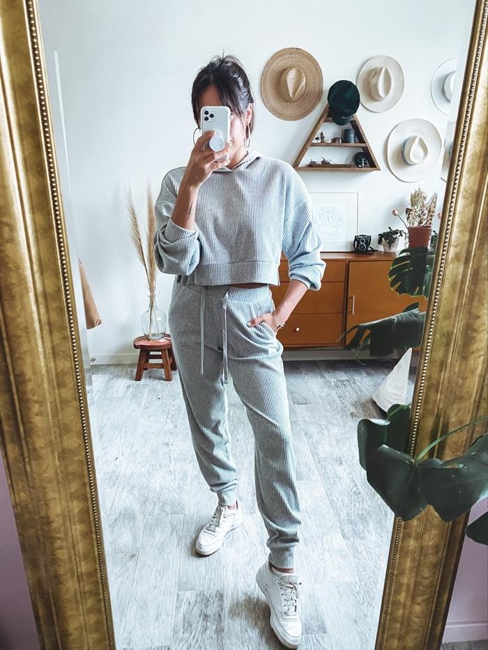 ensemble sport comfy pantalon loose crop top capuche manches longues tenue d intérieur femme gris clair