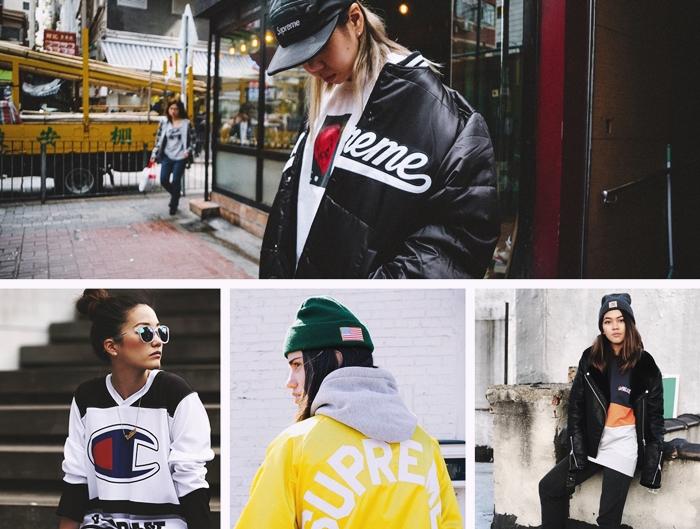 style vestimentaire femme tenue d hiver streetwear vetements veste large bomber noir bonnet