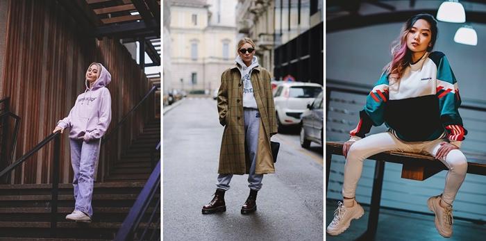 tenue femme hiver vetements sport survetements chaussures de marque streetwear baskets blanches