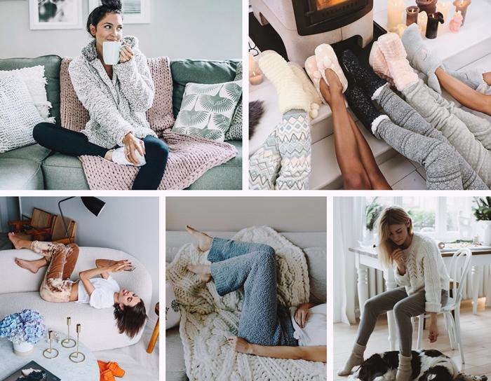 vetements chauds hiver garde robe femme mode interieur chaussette crochet laine pull oversize pantoufles