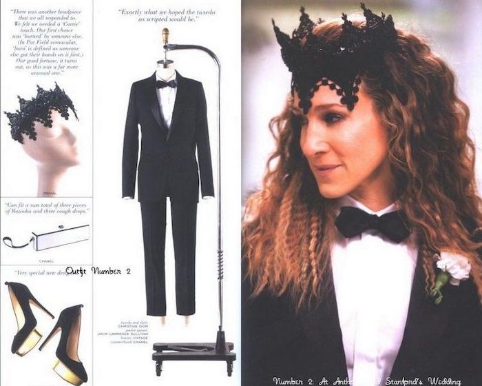le tuxedo de carrie bradshaw pour un marriage taileur noir et couronne en dantelle