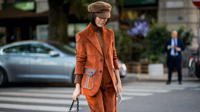 street style woman suit