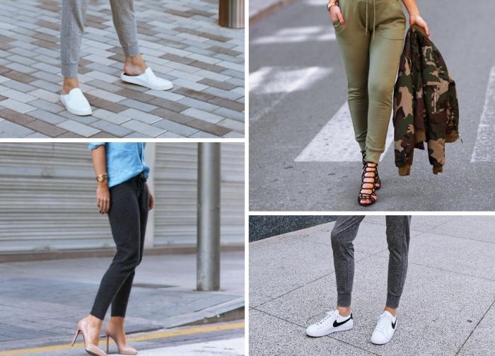 avec quelles chaussures porter un pantalon joggin femme chic tenue sandales talons
