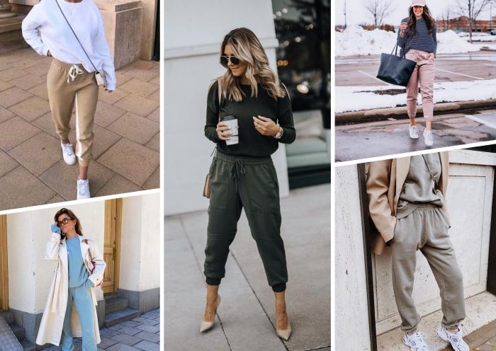 comment porter jogging femme style vestimentaire ensemble jogging bleu trench coat beige