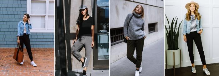 mode femme style vestimentaire casual chic jogging noir veste denim baskets blanches
