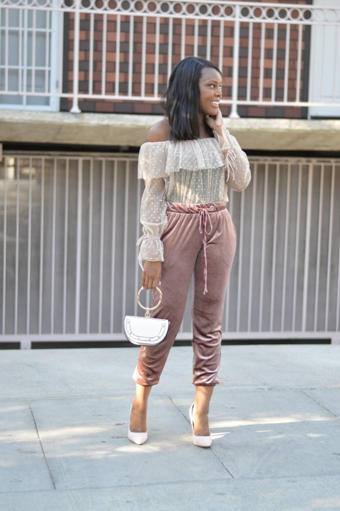 pantalon jogging femme habillée blouse dentelle bustier volants manches a effets