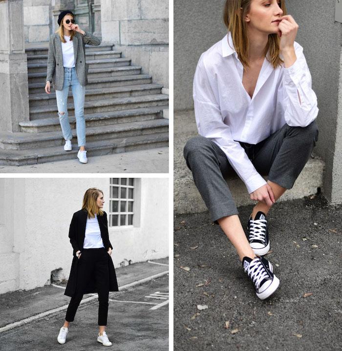 exemples d une tenue chic femme qui incluent des jean pantalon et blouses blanches