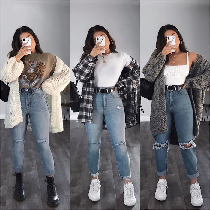 idée d un look style américaine pour femme avec des vestes différentes chemisier a carreaux et gillets tricotés