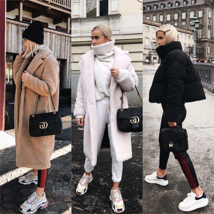 trois variations du style américain pour femme pendant hiver des baskets modernes et manteaux surdimensionnés style américain pour femme