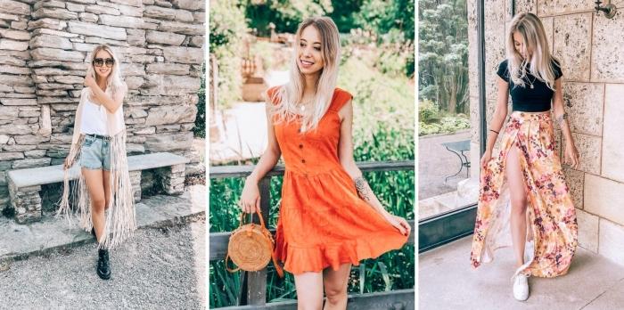 robe courte orange bouton gilet sans manches franges bohème lunette soleil été accessoires