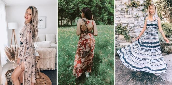 robe d été longue couleur nude motifs lune fente robe motifs fleuris vêtements mode été femme