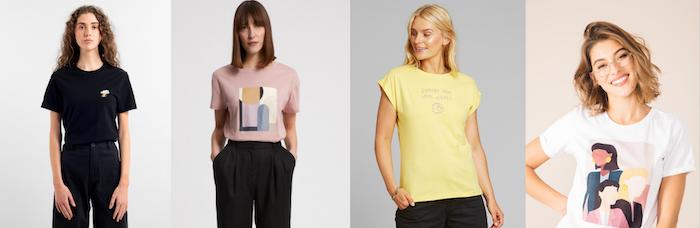 exemple de tee shirt de couleurs variées de coton biologique