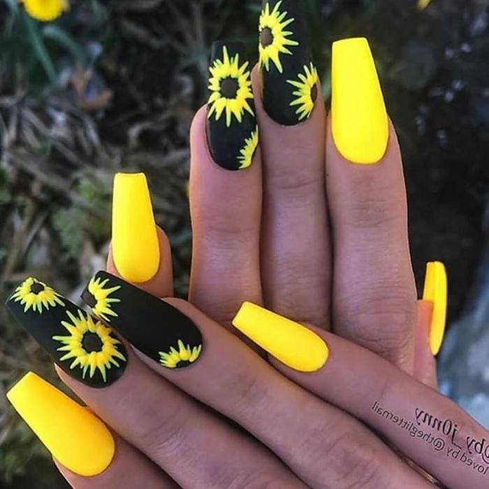 ongle jaune fluo manucure longue jaune et noire tournesol