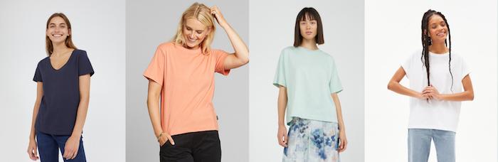 t shirts de couleurs variées pour femmes originales en coton biologique exemples de style vestimentaire femme