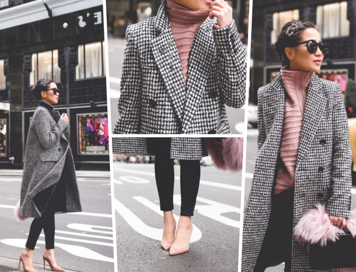 exemple de tenue classe femme, comment assortir les couleurs de ses vêtements, idée tenue en noir et rose