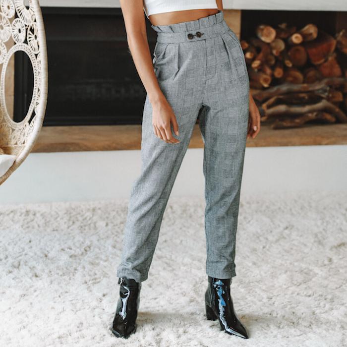 Gris pantalon à carreau taille haute, bottes et pantalon lin femme, tenue pantalon a pince femme, taille haute pantalon