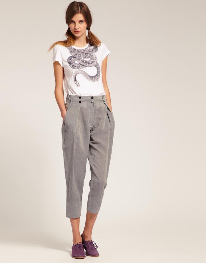OOTD pantalon rayé ou carré, pantalon femme taille haute chic tenue simple, inspiration comment s'habiller femme moderne