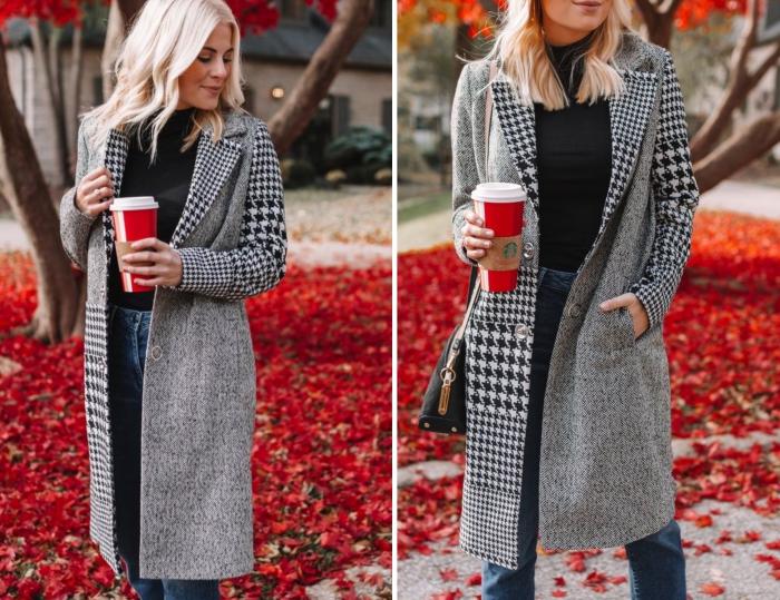 manteau long gris tendance hiver 2019 2020, tenue femme en jeans taille haute avec pull noir et manteau gris