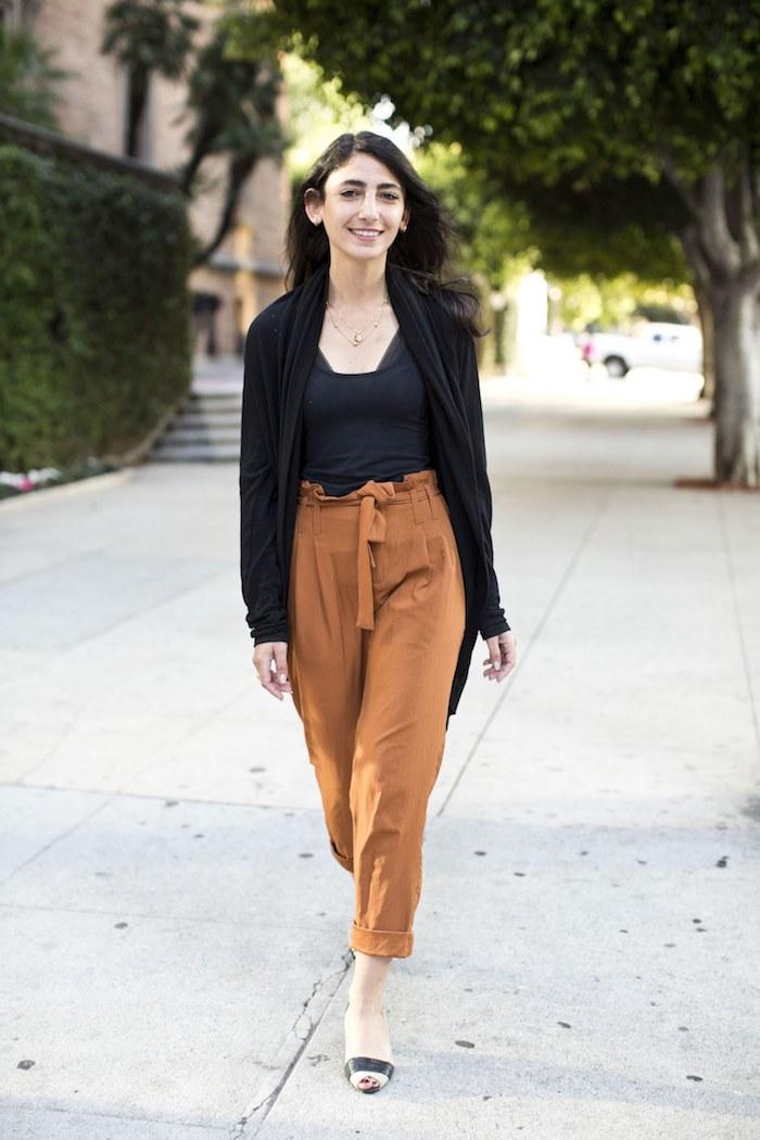 Orange pantalon moderne à taille haute, tendance 2019 pantalon carotte femme, porter un pantalon
