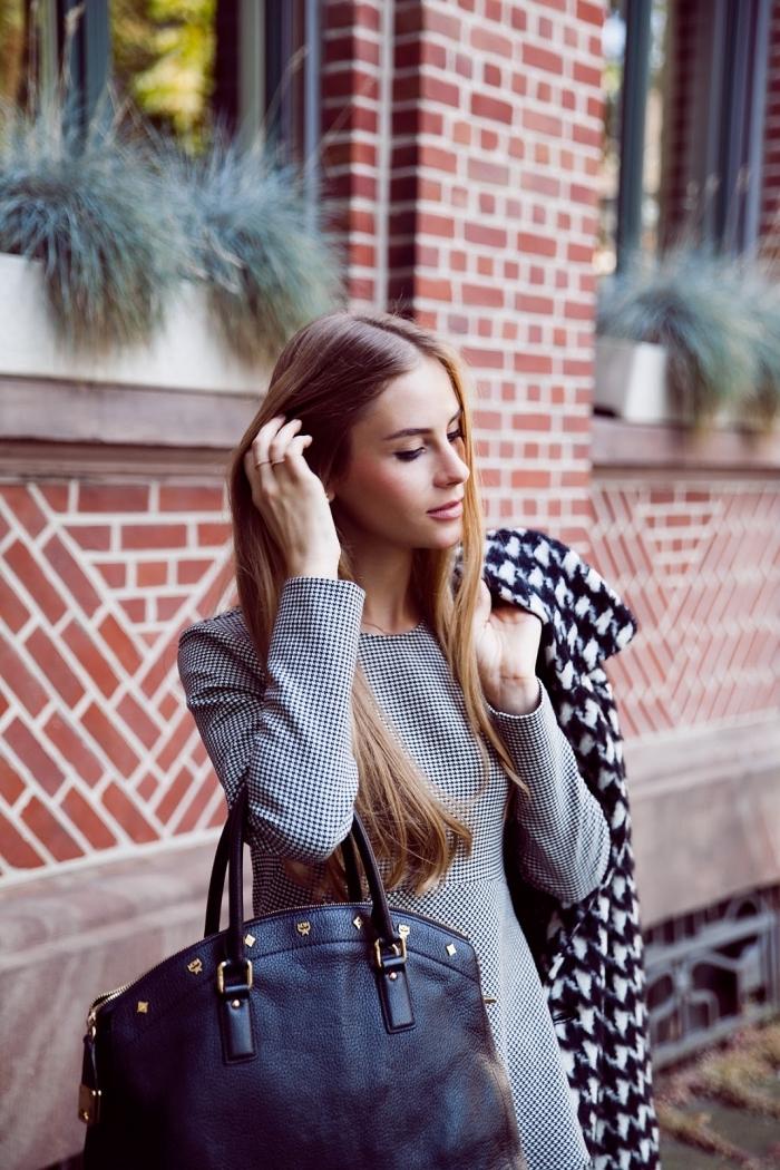 mode femme tendance automne hiver 2019 2020, modèle de robe manches longues en blanc et gris foncé